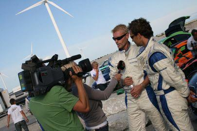 Race car drivers during an interview
