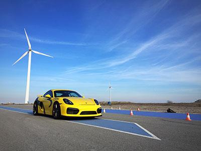 A yellow race car