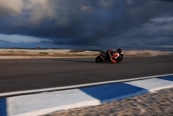 A motorcycle in a race track