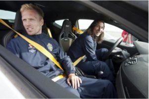 Car race drivers inside their cars